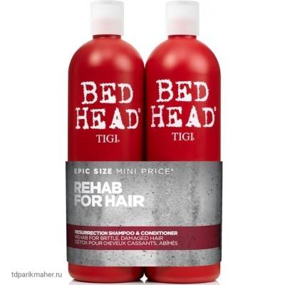 Восстанавливающий шампунь и кондиционер для сильно поврежденных волос TIGI Bed Head Urban Anti+dotes Resurrection, уровень 3, 2x750 мл