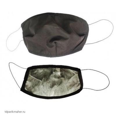 Детская многоразовая маска 2-х слойная Спанбонд на резинках 1шт Черная